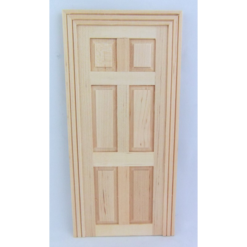 Dolls House Miniature DIY Fixture Natural Wood False 6 Panel Door