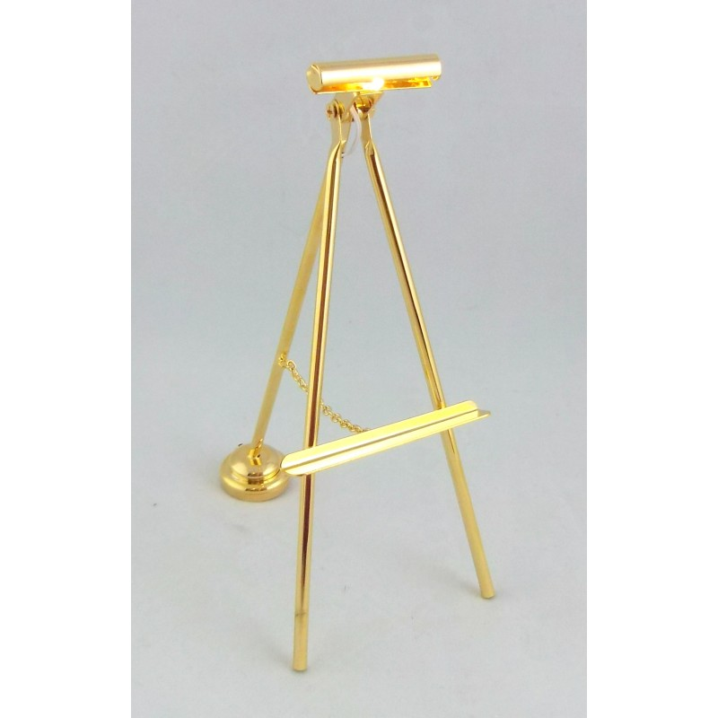 Melody Jane Dolls House Lighting LED Battery Light Brass Easel Picture Lamp