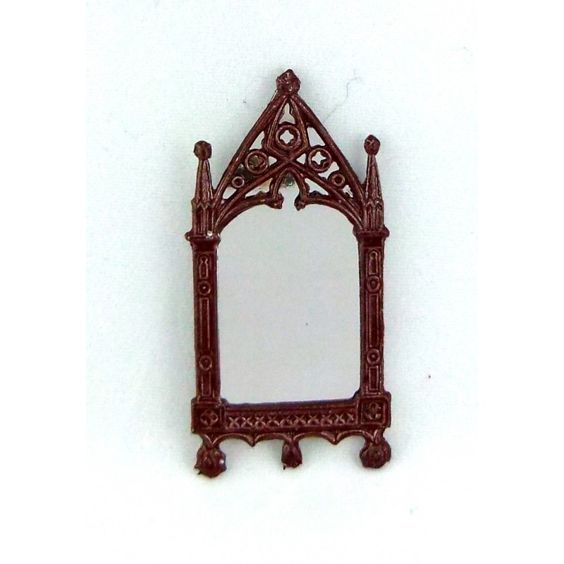 Dolls House Artisan Miniature Accessory Small Brown Metal Cathedral Mirror