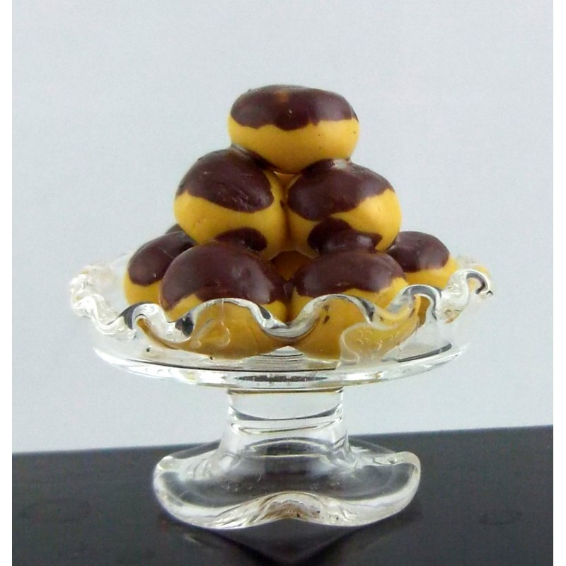 Melody Jane Dolls House Miniature Profiteroles in Pedestal Glass Dish Cake Stand