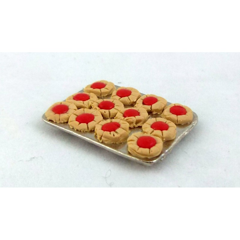 Dolls House Miniature Bakers Kitchen Accessory Cake Baking Tray of Jam Tarts