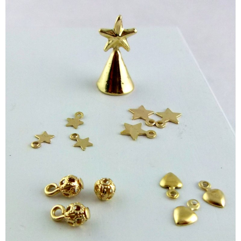 Dolls House Gold Christmas Tree Decoration Ornament Set Miniature Accessory