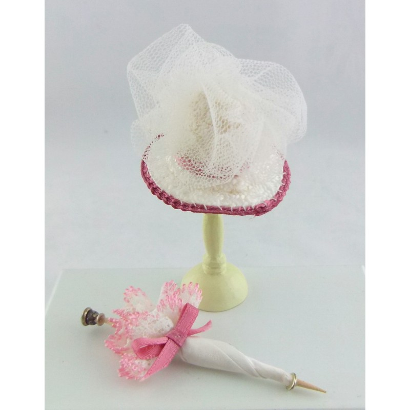 Melody Jane Dolls House Miniature Shop Accessory Victorian Lady's Hat & Parasol