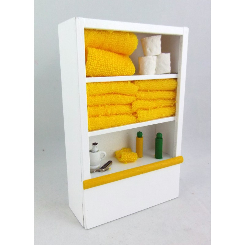 Dolls House Miniature 1:12 Scale Furniture White Wooden Bathroom Shelf Unit and Accessories Lemon