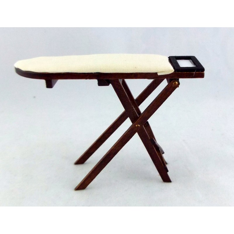 Dolls House Miniature 1:12 Kitchen Laundry Accessory Dark Wood Ironing Board