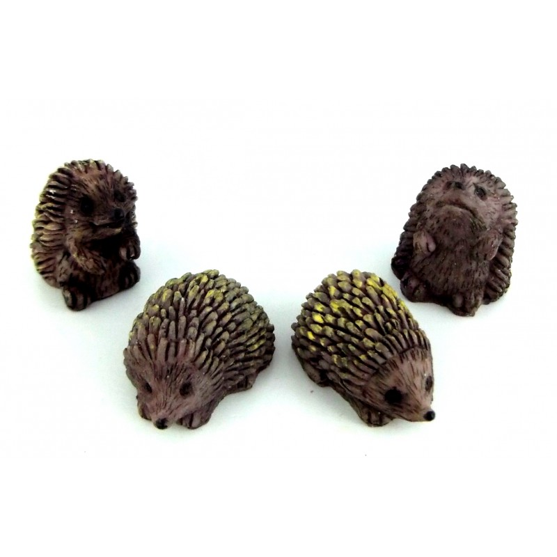 Dolls House Miniature Garden Accessory Animal Set of 4 Hedgehogs