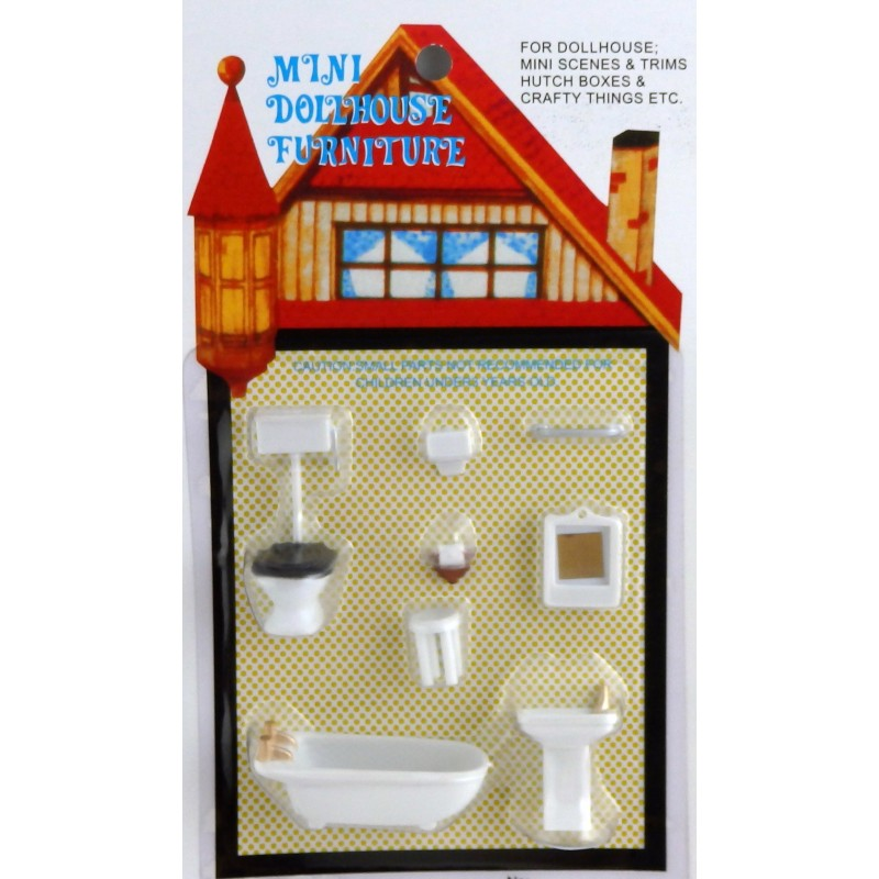 Dolls House Miniature 1:48 Scale Plastic Bathroom Furniture Set Suite