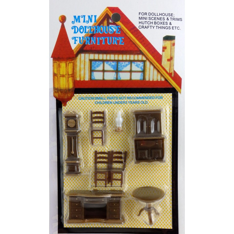 Dolls House Miniature 1:48 Scale Plastic Dining Room Furniture Set Suite