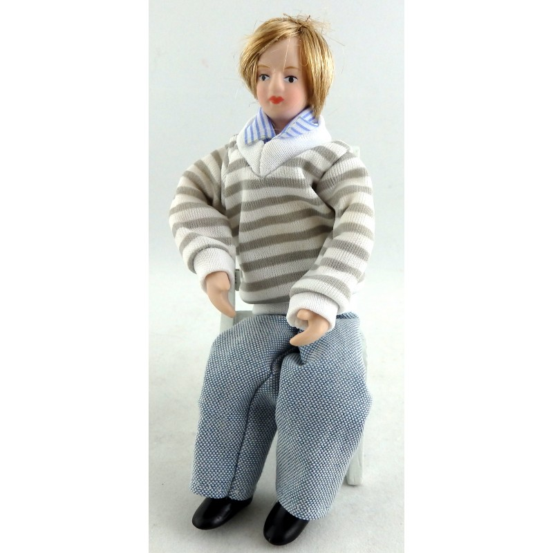 Dolls House Miniature 1:12 Scale Figure Porcelain People Modern Young Man