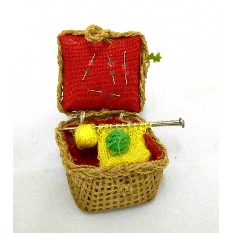 Dolls House Miniature 1:12 Hand Made Accessory Wicker Sewing Knitting Basket