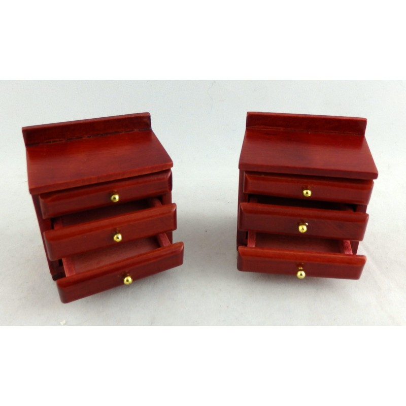 Dolls House Miniature 1:12 Bedroom Furniture Pair of Mahogany Bedside Chests