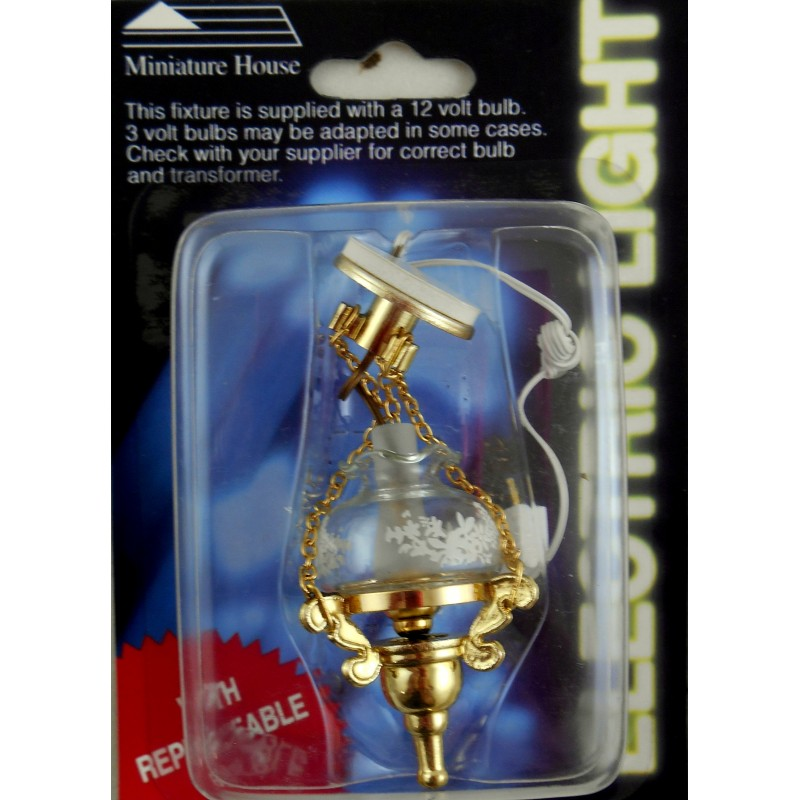 Dolls House Miniature Lighting Electric Light Victorian Hanging Ceiling Lamp