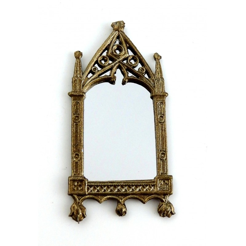 Dolls House Artisan Miniature Accessory Small Bronze Metal Cathedral Mirror