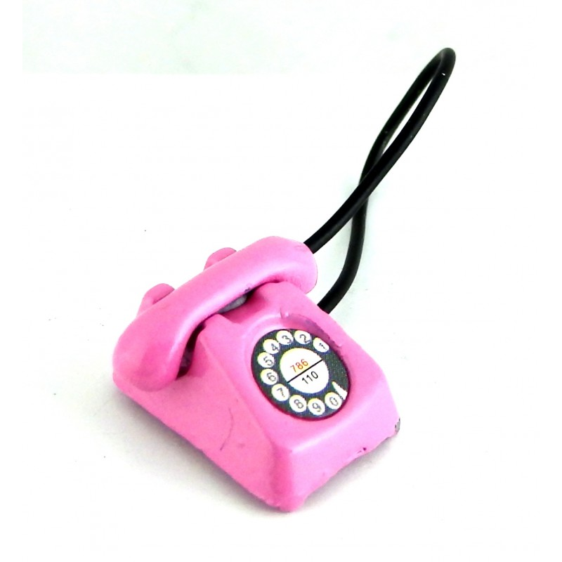 Dolls House Miniature Office Hall Bedroom Accessory Pink Retro Telephone Phone