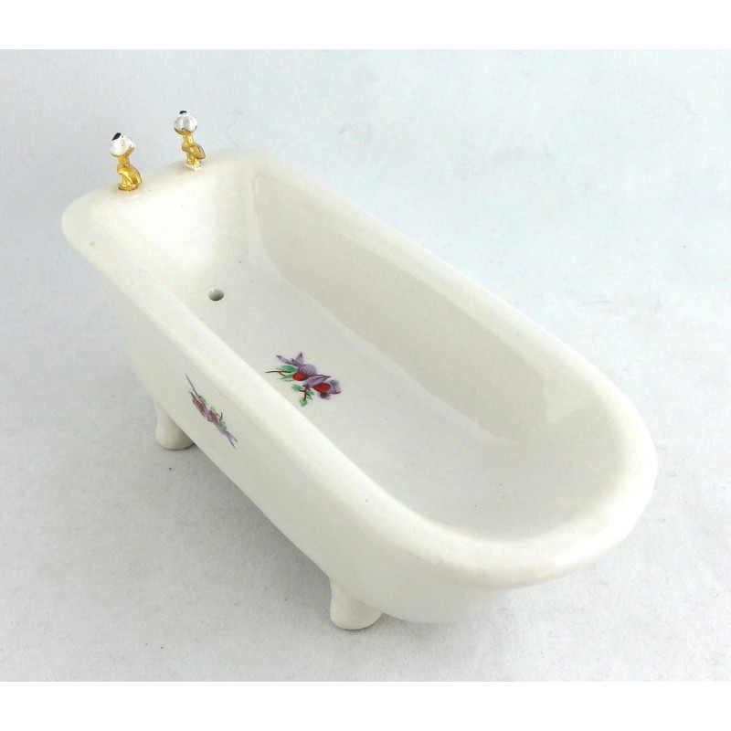 Dolls House Miniature Bathroom Furniture Porcelain Decal Footed Bath