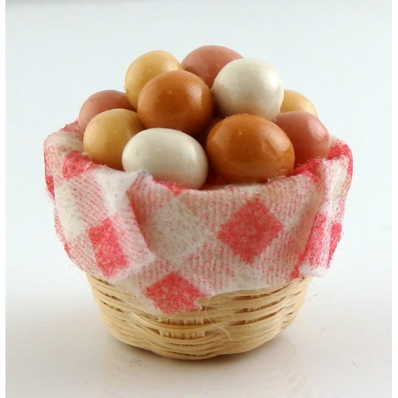 Dolls House Miniature 1:12 Scale Kitchen Country Store Accessory Basket of Eggs
