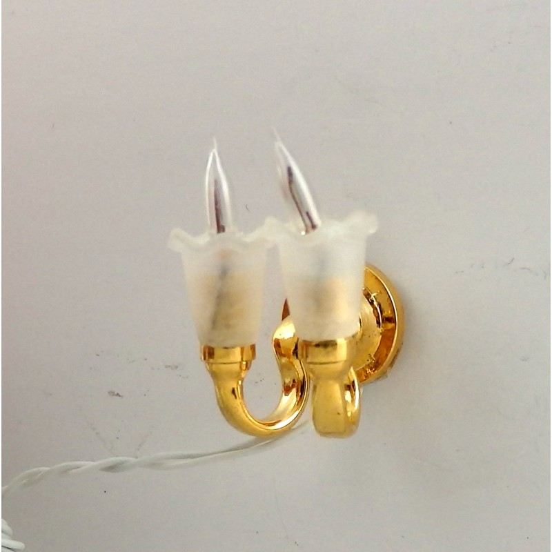 Dolls House Dual Frosted Tulip Wall Sconce Half Inch 1:24 Scale Miniature Light