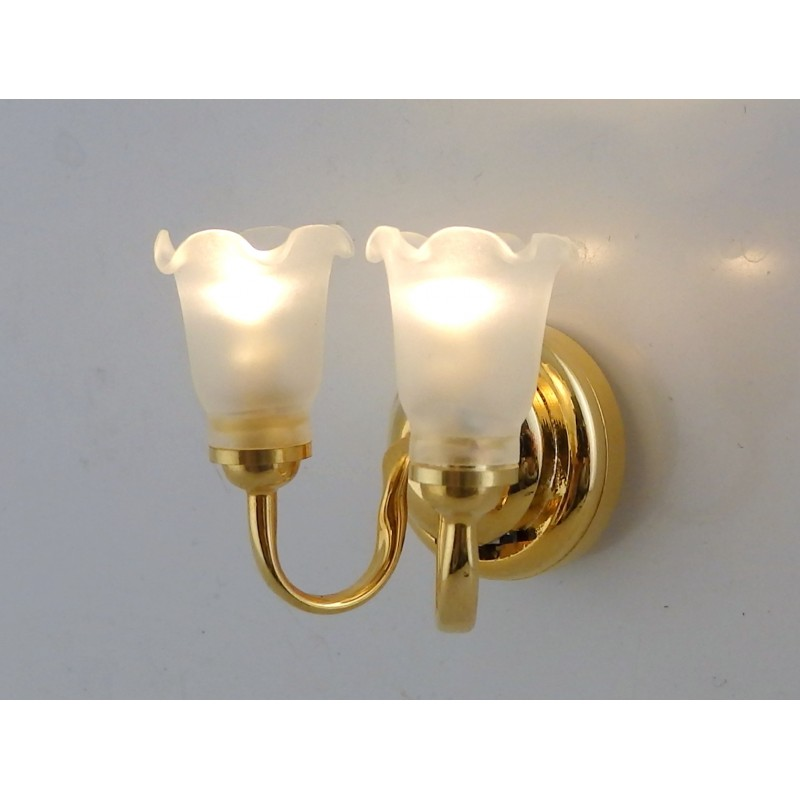 Melody Jane Dolls House Miniature LED Battery Double Fluted Sconce Wall Light
