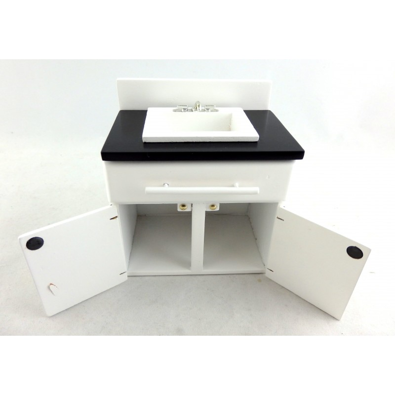 Dolls House Black & White Sink Unit Miniature Modern Kitchen Furniture 1:12