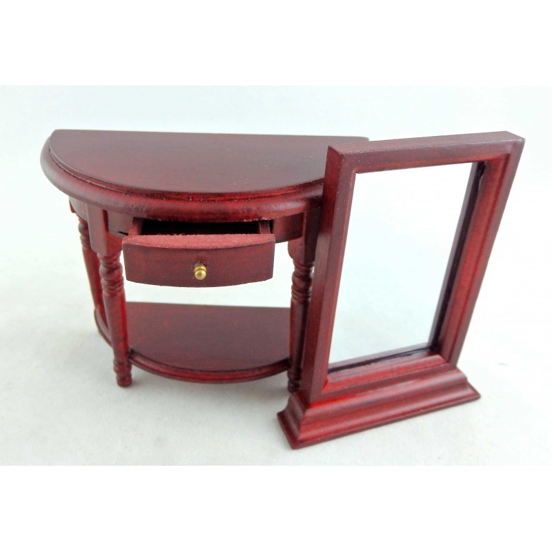 Dolls House Mahogany Table and Mirror Wooden Miniature Hall Furniture 1:12 Scale
