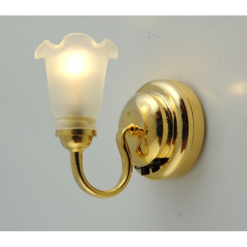 Dolls House Miniature LED Battery Frosted Tulip Wall Sconce Light