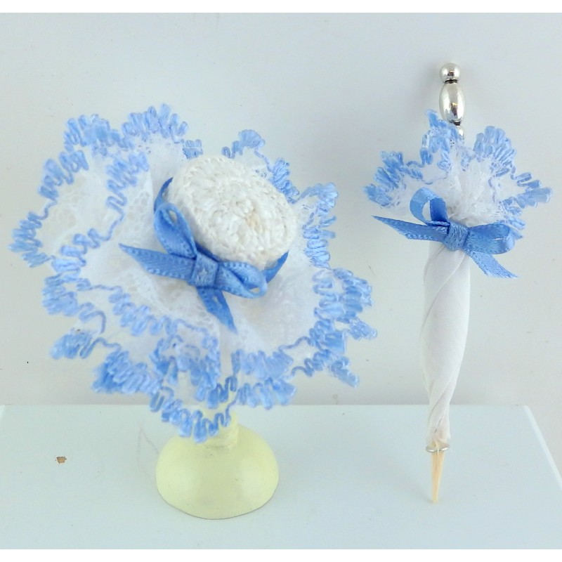 Dolls House Victorian Lady's Blue Hat & Parasol Miniature Shop Doll Accessory