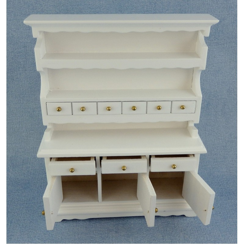 Dolls House White Wood Dresser Cabinet Miniature Kitchen Dining Room Furniture