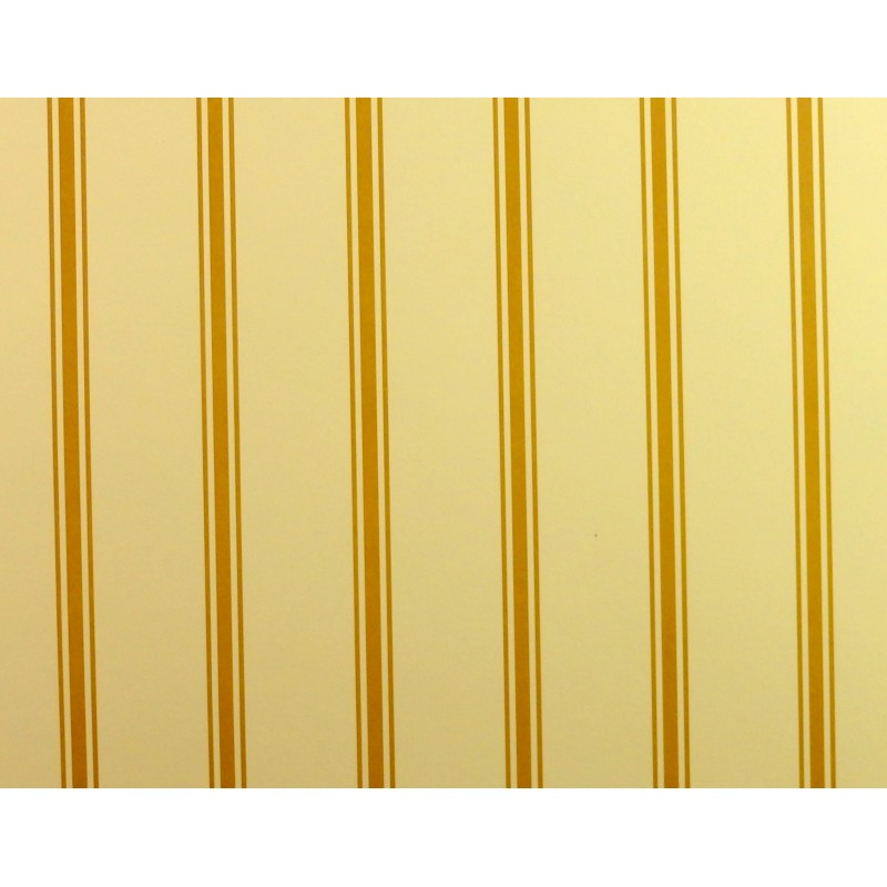 Dolls House Miniature Print 1:12 Scale Gold Cream Regency Stripe Wallpaper