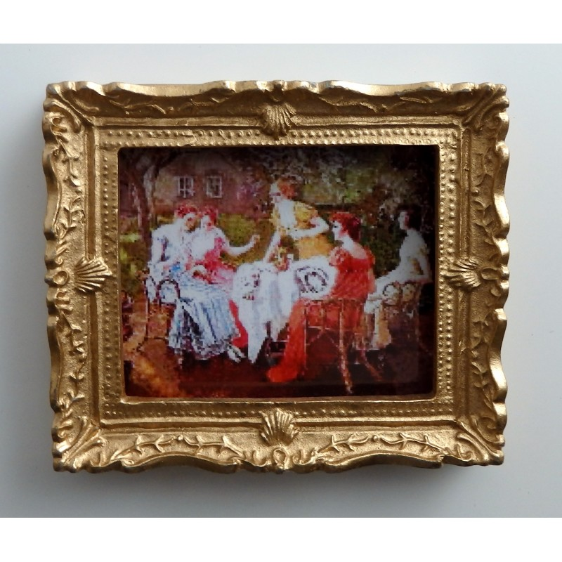 Dolls House Miniature Accessory Framed Victorian Sewing Party Picture Painting