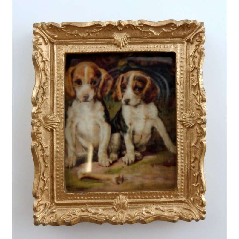 Dolls House Miniature 1:12 Accessory Beagle Puppies Picture Painting Gold Frame
