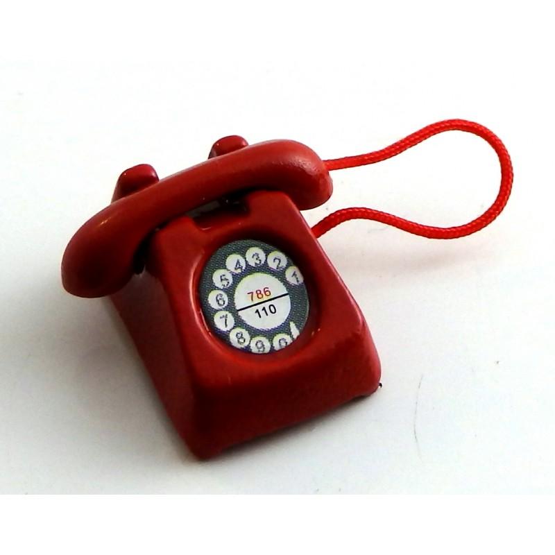 Dolls House Red Retro Telephone Phone Miniature Office Hall Bedroom Accessory