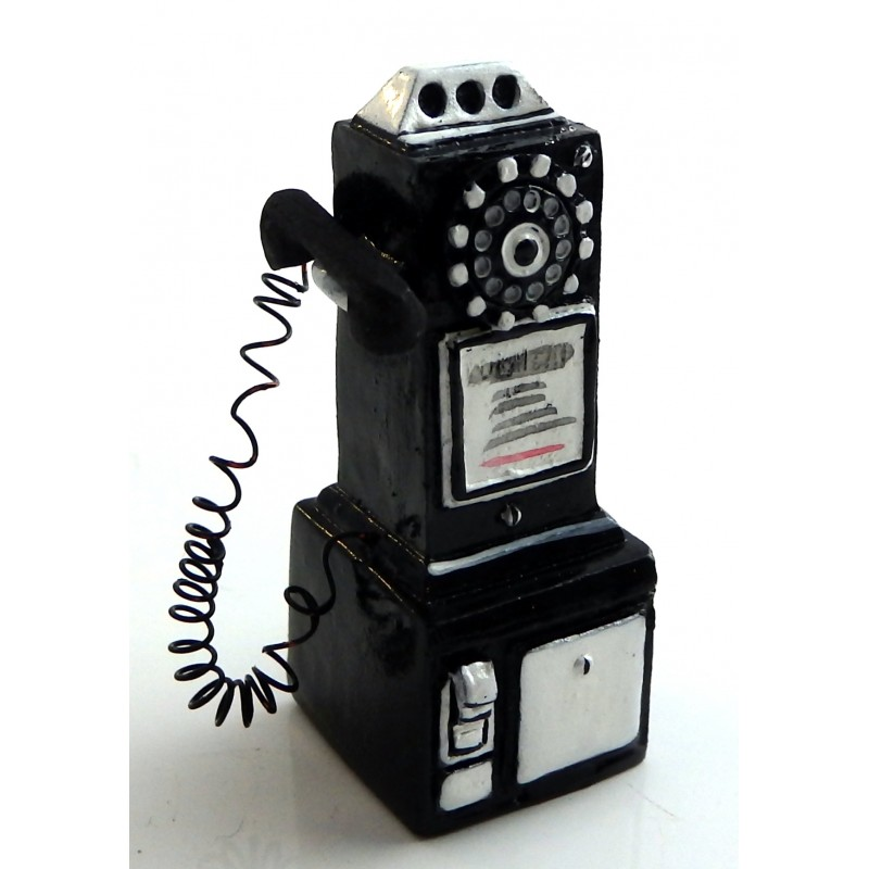 Dolls House Miniature Phone Box Shop Cafe Accessory 1950's Pay Telephone Black