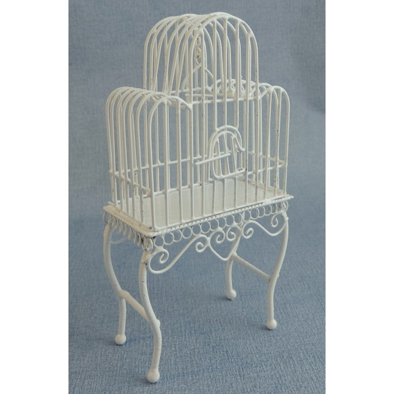 Melody Jane Dolls House Mini Victorian Pet White Wire Wrought Iron Bird Cage