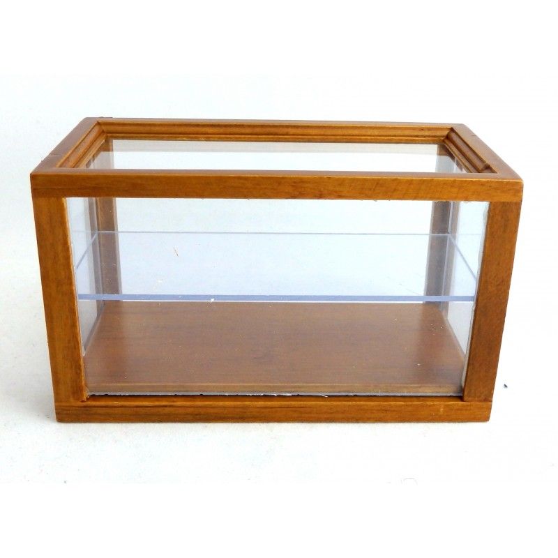 Dolls House Miniature Furniture Walnut Wooden Shop Fitting Display Case Counter
