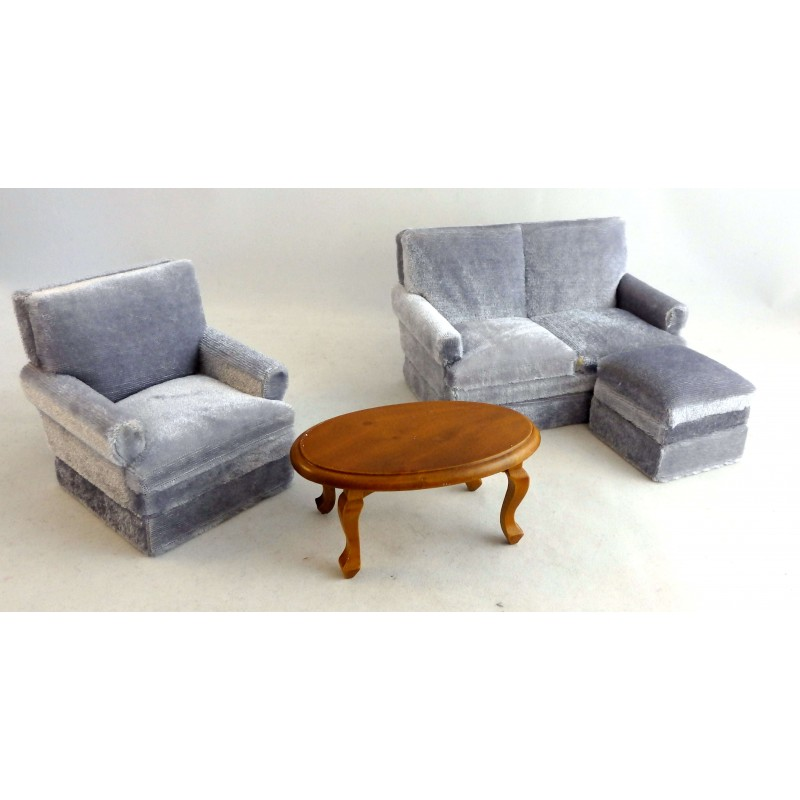 Dolls House Miniature Grey Velour Modern Living Room Furniture Set
