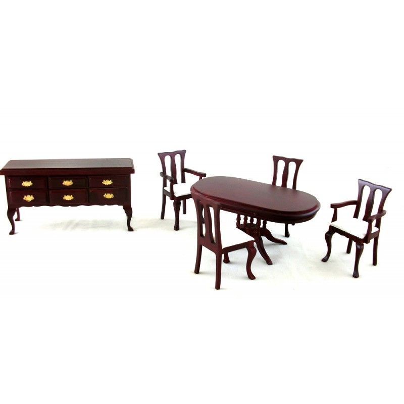Dolls House Dining Furniture Set with Oval Pedestal Table Victorian Mahogany