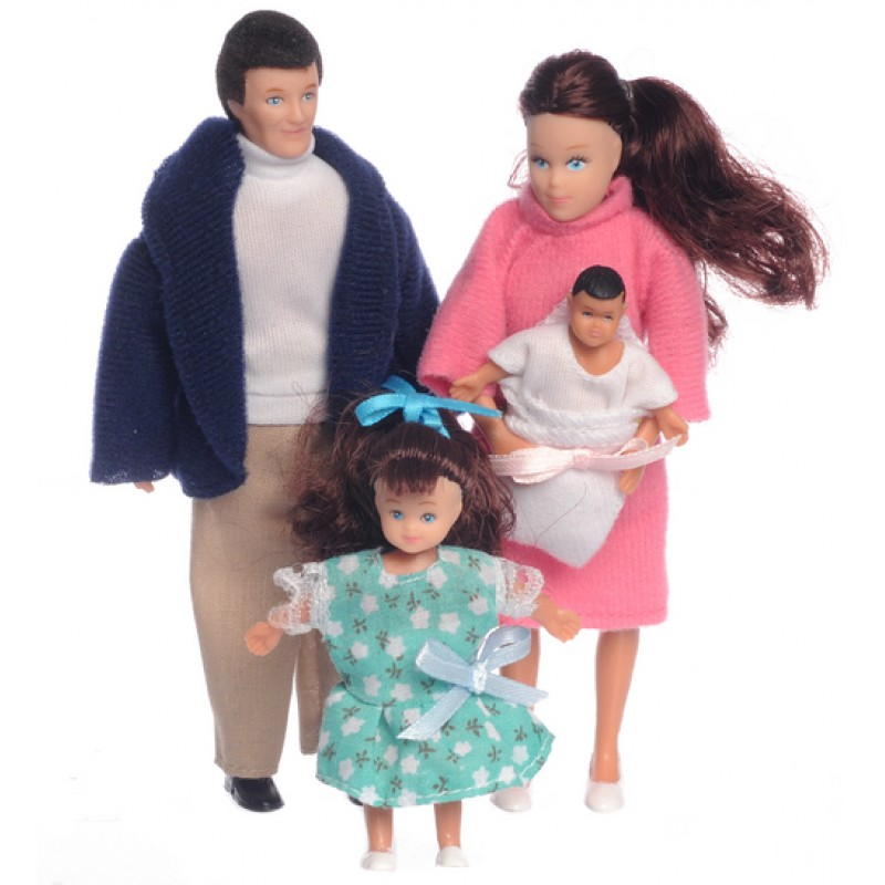 Dolls House Modern Brunette Family of 4 People Mum Dad Daughter Baby 1:12 Scale