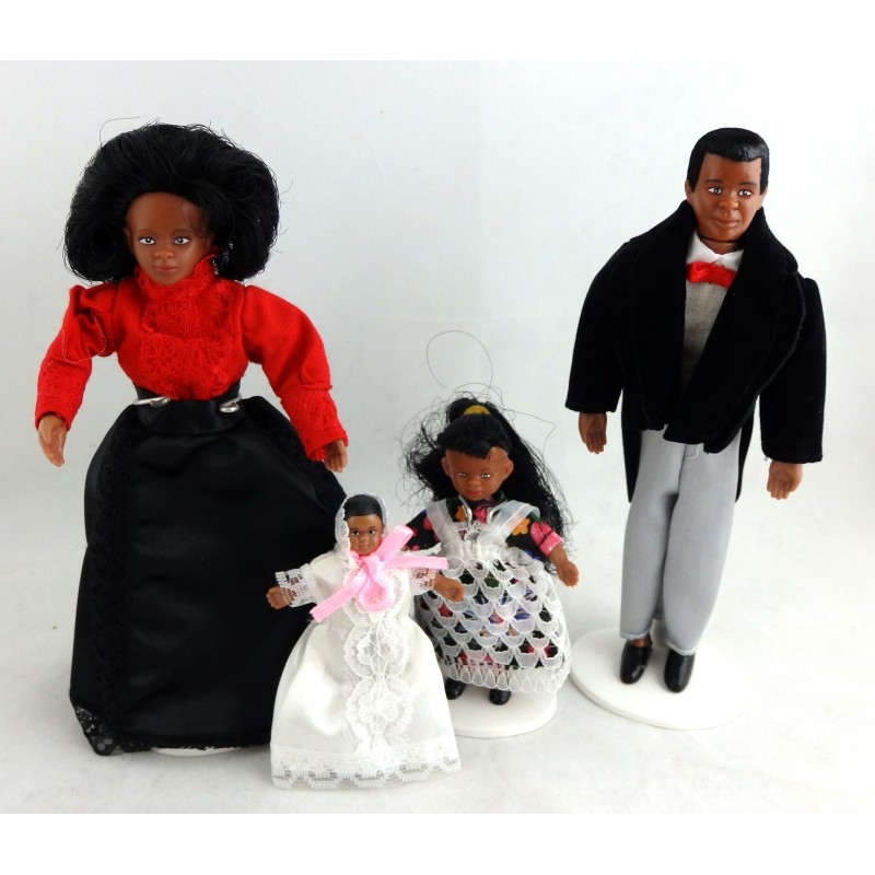 Dolls House Miniature Victorian Black Family of 4 People Bendable Poseable 1:12