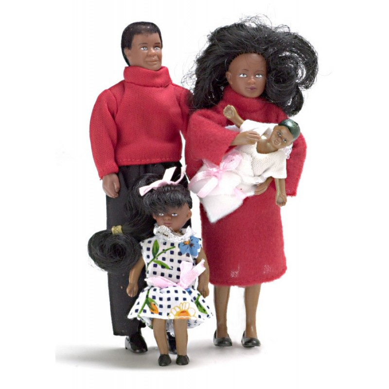 Dolls House Miniature Modern Black Family of 4 People Bendable Poseable 1:12