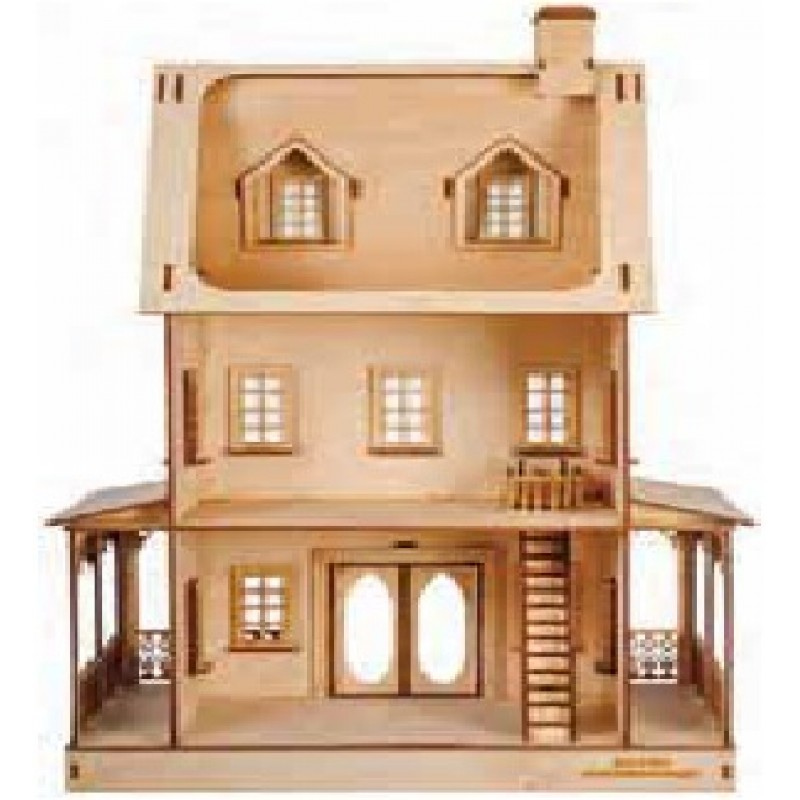Dolls House Abriana American Country Cottage Flat Pack Kit Laser Cut 1:24 Scale