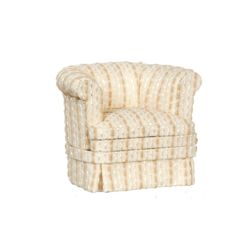 Dolls House Cream & Tan Stripe Tub Armchair Platinum Living Room Furniture