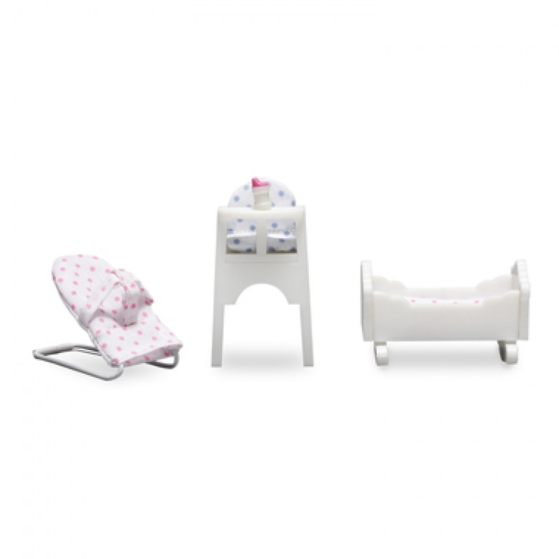 Lundby Smaland 1:18 Highchair Crib Chair Set Dolls House Nursery Baby Furniture