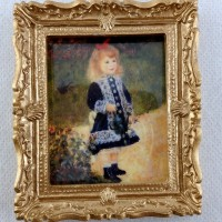 Melody Jane Dolls House Miniature Grazing Cattle Scene Painting Gold Frame