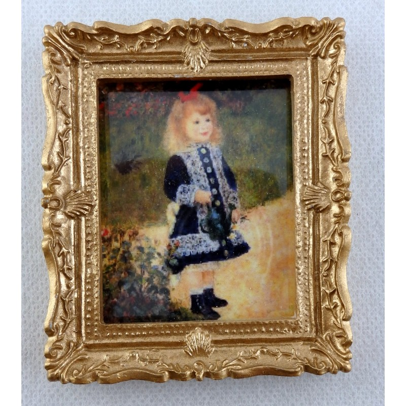Dolls House Miniature Accessory Little Girl in Blue Picture Painting Gold Frame