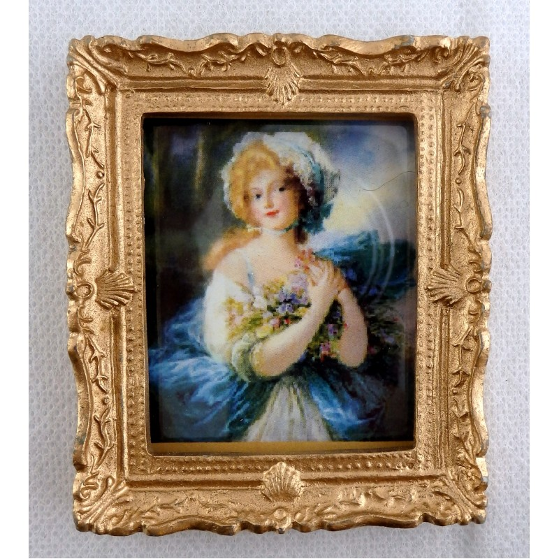 Dolls House Miniature Accessory Blue Lady Picture Painting Gold Frame