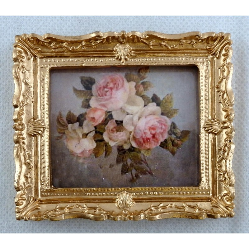 Dollhouse Miniature Home Room Photo Picture Metal Rose Oval Art Frame 1:12