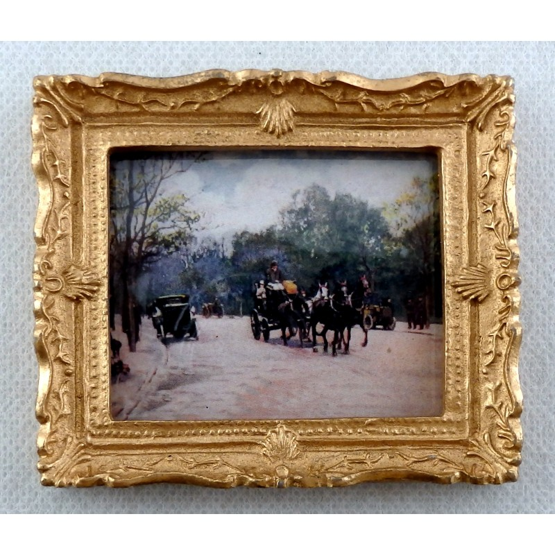 Dolls House Miniature Accessory Snowy Carriage Ride Picture Painting Gold Frame