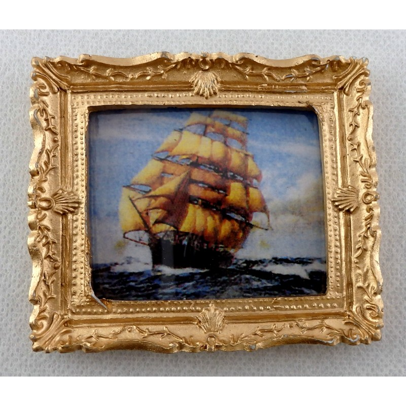 Dolls House Miniature Accessory Clipper at Sea Picture Painting Gold Frame