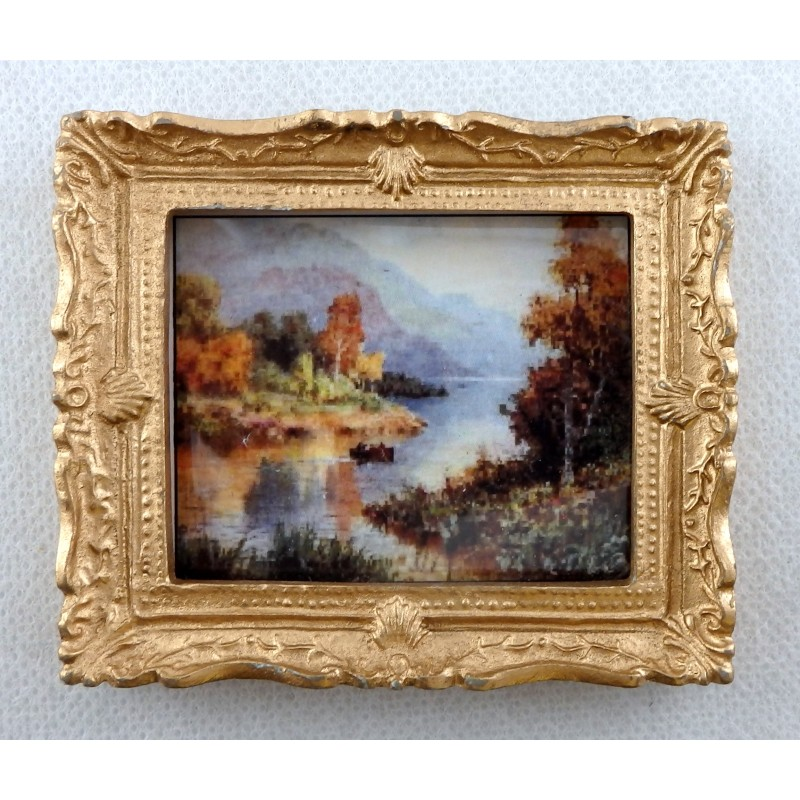 Dolls House Miniature Accessory Scenic Scottish Loch Picture Painting Gold Frame