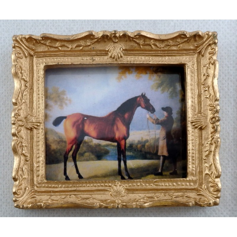Dolls House Miniature Accessory Horse & Trainer Picture Painting Gold Frame